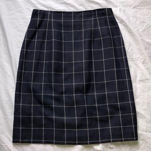 Ann Taylor navy checked skirt